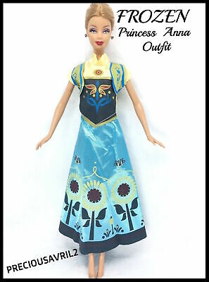 Brand new barbie doll clothes Frozen Anna dress outfit wedding evening princess