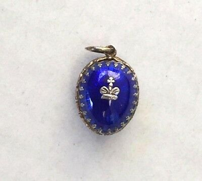 rare imperial Russian 84 Silver Enamel  Egg Pendant Faberge design