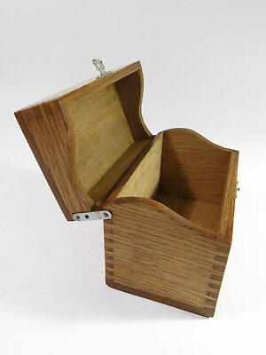 Antique Early 1900s Solid Oak Desk-Top Index Card File Box—Rare Hinges