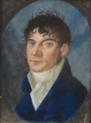 19th C. French Empire Pastel Painting on Parchment Handsome Gentleman in Cravat