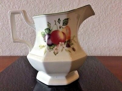 "Vintage""English"" Ceramic Pottery Milk/Water Pitcher Orchard Design Square Handle"