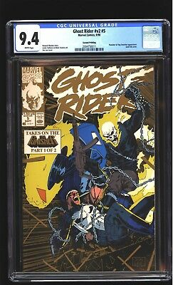 Ghost Rider 5 CGC 9.4 NM Punisher app Jim Lee 2nd Print Gold cover Marvel 1990