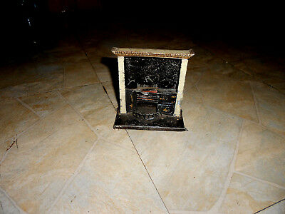 🎄 Antique ~ TIN / Soft Metal ~ FIRE PLACE  ~ DOLL HOUSE 🎄 very old