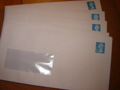 10 X  2Nd  Class  Pre Stamped Dl With Window Self Seal Envelopes