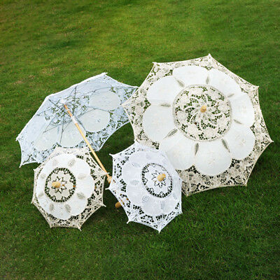 CDC4 White Beige Length 43cm Wedding Performance Handmade Parasol Cloth