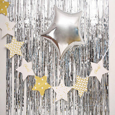 7355 Shimmer Glitter Foil Tinsel Metallic Backdrop Curtain Party Wedding Decorat