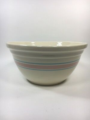 Vtg McCoy Mixing Dough Bowl Pink and Blue Stripe Banded Ovenware 14 inch XL