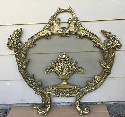 Antique Vtg 1900s Victorian Baroque Rococo Brass Fire Fireplace Hearth Screen