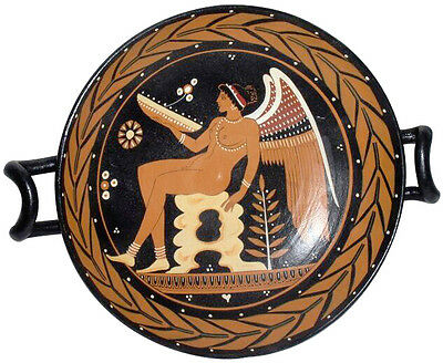 Ancient Greek Apulian Kylix with Hermaphrodite Vase Museum Replica Reproduction