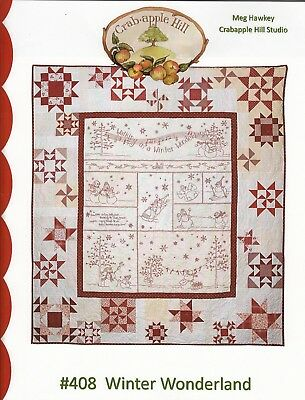 WINTER WONDERLAND QUILT HAND EMBROIDERY PATTERN, From Crabapple Hill Studio NEW