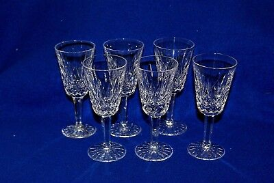"""Set of 6 Waterford Crystal Lismore 5"""" Tall Liquor Cordial Glasses"""