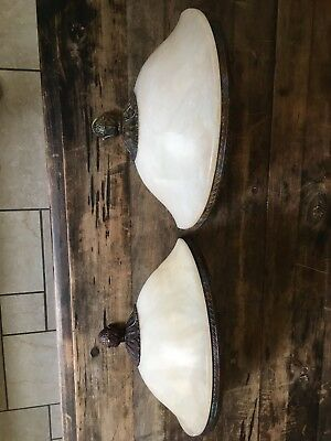 Pair of Alabaster Wall Sconces/Appliqué