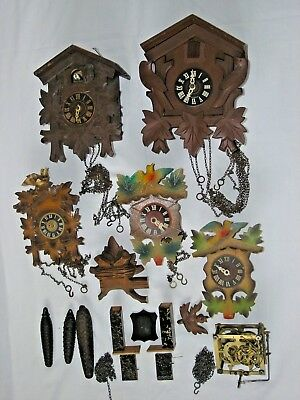 Job Lot of Cuckoo Clocks & Parts - Spares / Repair - See Photos