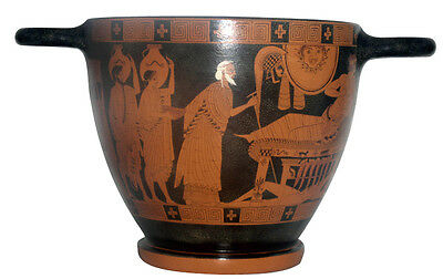 Ancient Greek Attic Red Figure Skyfos Vase Museum Replica Reproduction