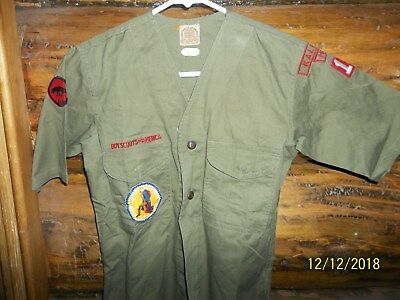 Vintage Boy Scouts BSA Collarless Uniform Shirt,  National Jamboree patch