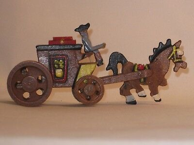 Vintage 1950s Hand Carved Miniature Wood Horse and Stage Coach in BOX - Japan