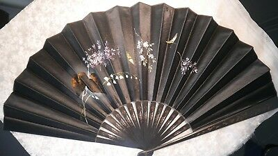 Antique Large Black Silk/satin And Ebony Painted Fan