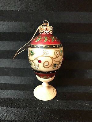 Faberge Type Egg Hand Painted Glass Christmas Ornament