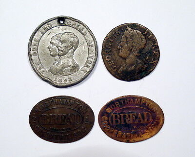 Lot of 4 coins/tokens from Great Britain