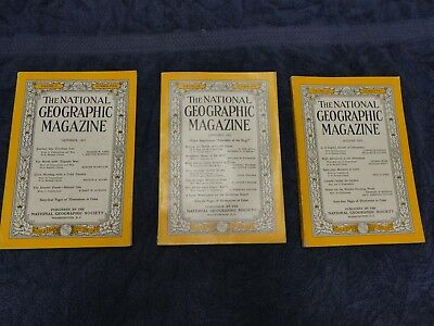3 National Geographics   Lot of Three   One From 1951 and Two From 1952  Nice!!