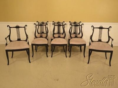 LF29333EC: Set Of 8 Black Lacquer & Silver Dining Room Chairs w. Swans