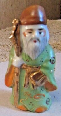 "Vintage Japanese Moriage Satsuma ""Old Man w/Stick"" W/Raised paint 3 1/2""Tall"