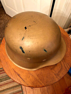 Old Vtg WWII Military German Helmet With Leather Lining