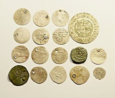 Lot Of 17 Ancient Silver / Silver Plated/ Copper Ottoman Islamic Turkey Coins 02