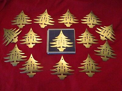 Vintage 14 Dennison's GOLD Foil Christmas TREE Seals Stickers In Tiny Box