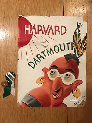 1947 Dartmouth Univ. Football Pin Button football charm & vs Harvard program cvr