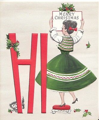 Unused, Pretty Lady  Decorates For Christmas, Vintage Christmas Greeting Card!
