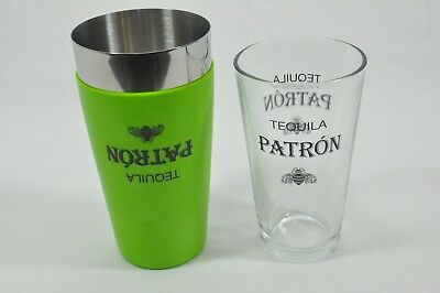 Patron Tequila Bar Pint Glass and Stainless Steel Shaker New FREE SHIPPING