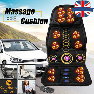 NEW Heated Back Seat Remote Control Massage Chair Car Home Van Relax Cushion UK