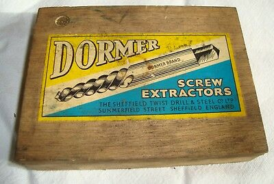 Vintage Dormer screw extractors in wooden box No's 2 to 6 whitworth set B