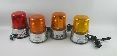 Lot of 4 Various Small Beacon Lights AMBER,YELLOW,&RED All Magnetic Mounting