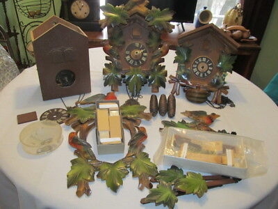 3 Vintage German Cuckoo Clocks Parts, Repair Heco, Bachmaier, unknown