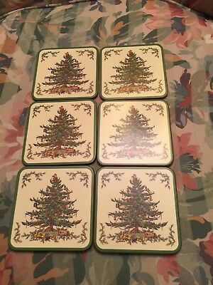 "6 SPODE CHRISTMAS TREE CORK BACK COASTERS 4"" SQUARE Used With Box"