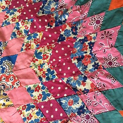 Antique vtg quilt top LONE STAR medallion only FEED SACK hand stitched