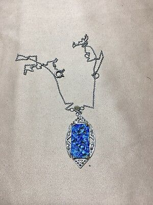 Art Deco Silver Plated  Faux Lapis Marcasite Necklace