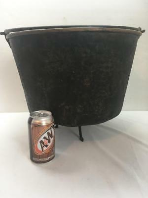 Huge Antique Hammered Brass Bucket Kettle w/Trivet Fireplace Wood/Kindling Vtg