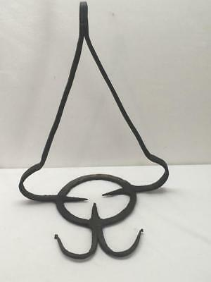 Early Antique Hand Forged Iron Fireplace Hanging Trivet for Cooking Pot