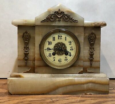 Japy Freres French Egyptian Revival Alabaster Marble Stone Mantle Table Clock