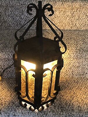 "VTG Mid Century Porch Wall Light Wrought Iron Black and Amber Glass-20""x8"""