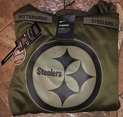 18025300c PITTSBURGH STEELERS Salute to Service Therma Fit Hoodie 2018 Nike Military  STS