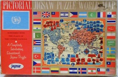 VINTAGE JAYMAR  PICTORIAL WORLD MAP JIGSAW PUZZLE w/ FLAGS of the UNITED NATIONS