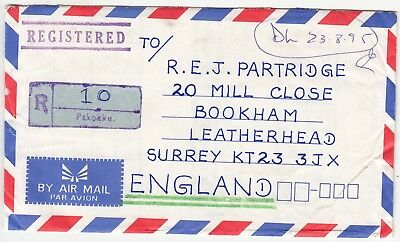 Myanmar: Registered Airmail Cover; Pakokku to Leatherhead, 1990s