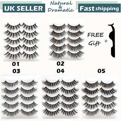 3D Mink Natural Thick False Fake Eyelashes Makeup Extension Eye Lashes Set UK