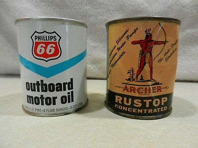 Phillips 66 Outboard Motor Oil Can and Archer Rustop Concentrated Can -  Full