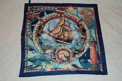 Andells Mythical Seascape Silk Pocket Square/handkerchief.