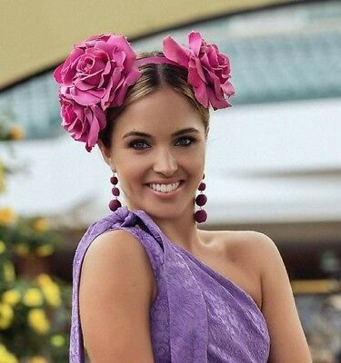 Morgan And Taylor Hot Pink Roses Flower Fascinator Crown Melbourne Cup Rrp $119